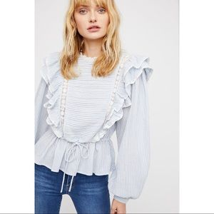 Free People Pretty Pretty Pintuck Blouse X-Small